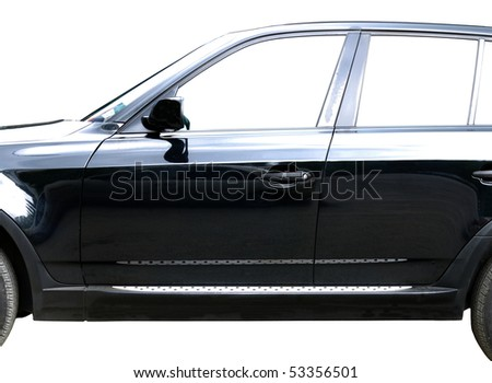 Black car on a white background - stock photo