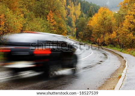 black car on autumn road
