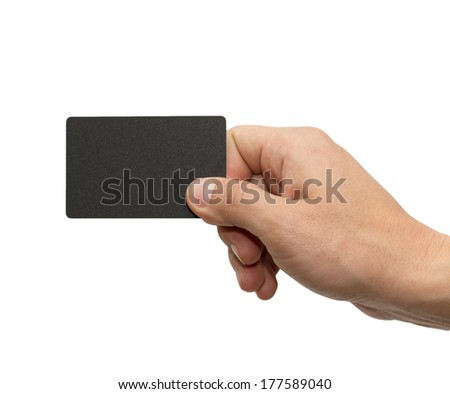 black card in hand on white background - stock photo