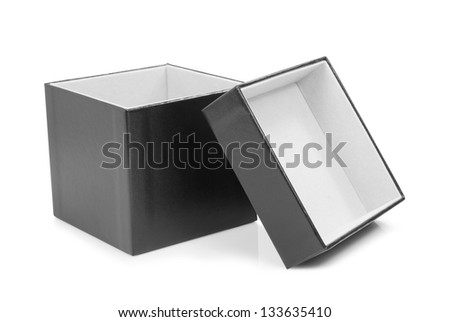Black cardboard box with the lid off over white background. - stock photo
