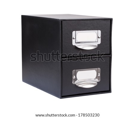 Black Cardboard File Drawer isolated on white with a clipping path. - stock photo