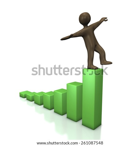Black cartoon character with green chart. 3d illustration. - stock photo