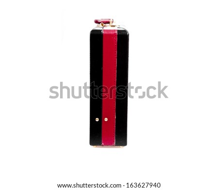 Black case whit lock on white background - stock photo