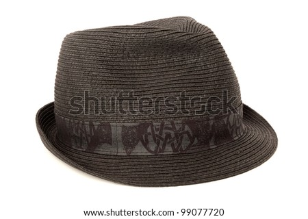 black casual hat isolated on white background - stock photo