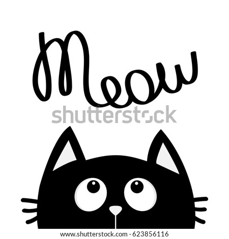 Black Cat Looking Up To Meow Lettering Text Cute Cartoon Character Kawaii Animal