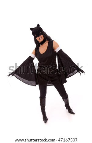 black cat woman showing her claws (isolated on white) - stock photo
