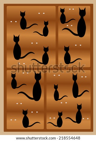 Black  cats silhouettes in a house of cats - stock photo