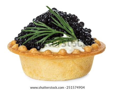 Black caviar canape isolated on white background - stock photo