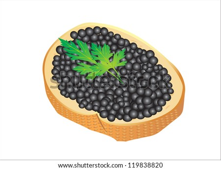 Black caviar served on bread Raster version, vector file id:119777611 - stock photo