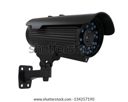 Black CCTV Surveillance Camera - stock photo