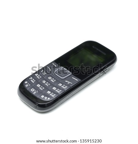 Black cellphone on white background - stock photo