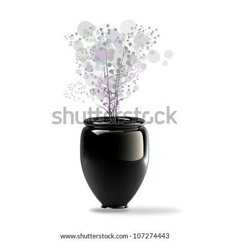 Black ceramic vase with a flower isolaed on white background. 3d illustration. high resolution
