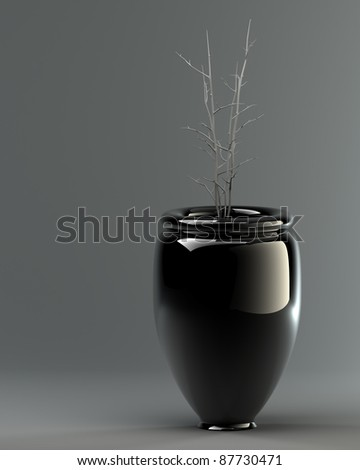 Black ceramic vase with a flower on a grey background. 3d illustration. high resolution - stock photo