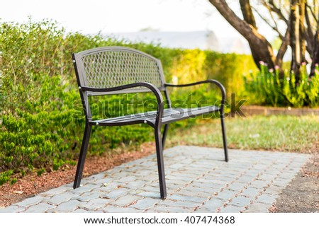 black chairs in the garden