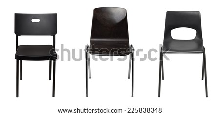 Black chairs isolated - stock photo