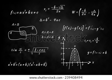 Black Chalkboard, hand writing and solving math problems - stock photo