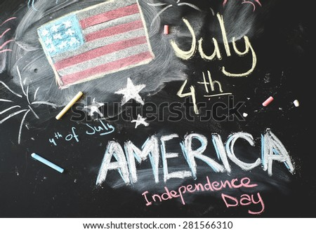 black chalkboard in classroom with flag of us...4 th of July. - stock photo