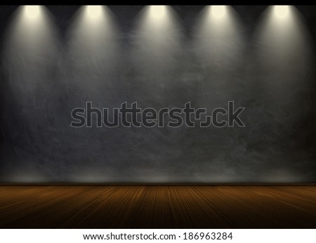 black chalkboard in empty room - stock photo