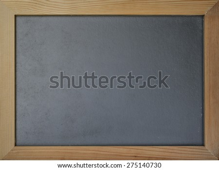 Black chalkboard in grunge wood frame : Blackboard in wood frame with blank space for adding text   - stock photo