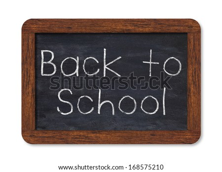 """Black chalkboard with """"back to school"""" handwriting including clipping path - stock photo"""