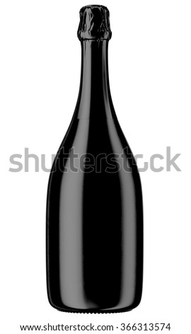 Black Champagne or sparkling wine bottle isolated on white background. 3D Mock up for you design. - stock photo