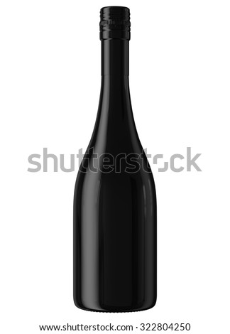 Black Champagne or sparkling wine bottle isolated on white background. Mock up for you design. - stock photo