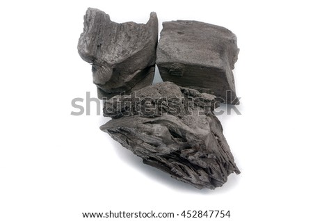 black charcoal for cooking on white background