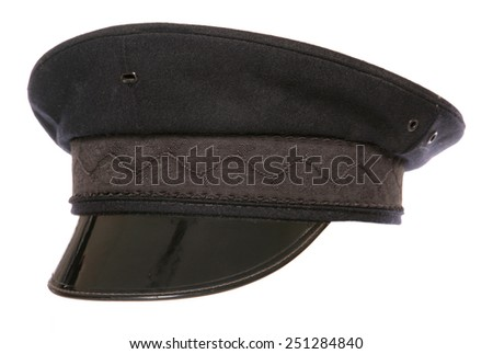 black chauffeur fancy dress hat cutout - stock photo