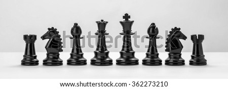 Black chess figures isolated on the white background. Set of chess figures. - stock photo