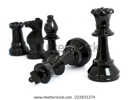 Black  chess isolated white background - stock photo