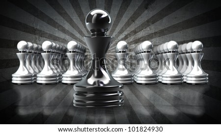 Black chess pawn abstract background 3d illustration. high resolution