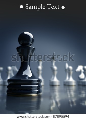 Black chess pawn background 3d illustration. high resolution - stock photo