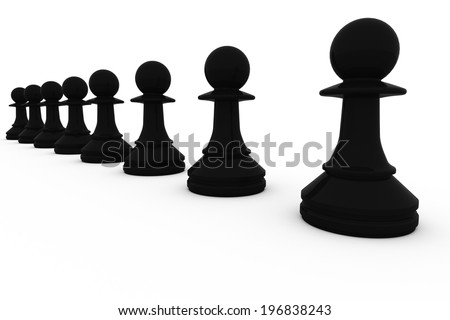 Black chess pawns in a row on white background