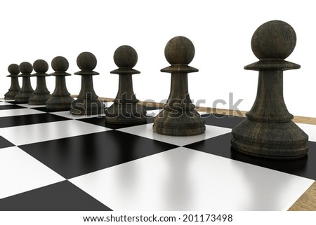 Black chess pawns on board on white background