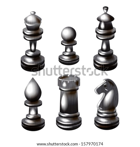 black chess pieces , chess figure , king. queen, bishop, knight , pawn, rook isolated on white background raster - stock photo