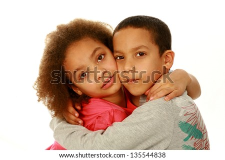 black children hugging with copy space