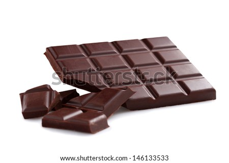 Black chocolate bar and chunks- Isolated on white