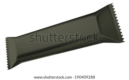 Black chocolate bar isolated on a white background. 3D render. - stock photo
