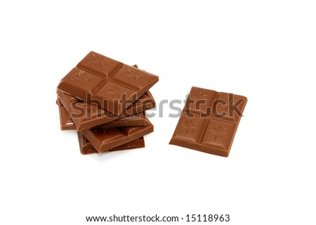 Black chocolate isolated on a white background