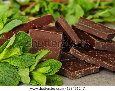 Black chocolate squares and peppermint.