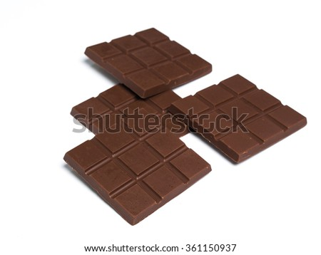 Black Chocolates bars on white isolated background.
