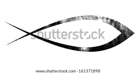 black christian fish symbol on a solid white background - stock photo