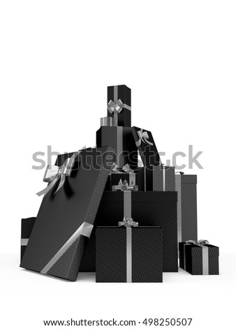 Black christmas gift boxes with price tag blank isolated on white background. 3D Rendering, Illustration.