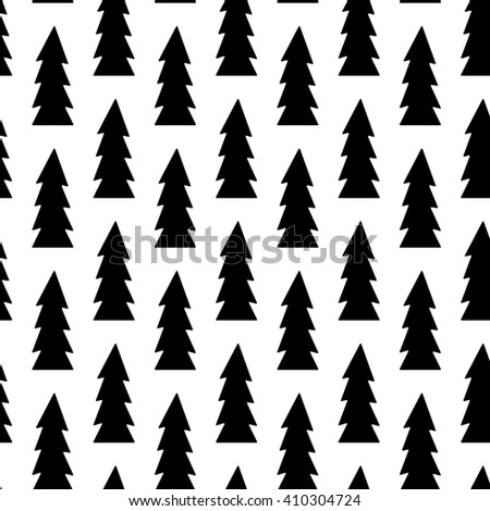 Black Christmas tree xmas pattern seamless raster copy. - stock photo