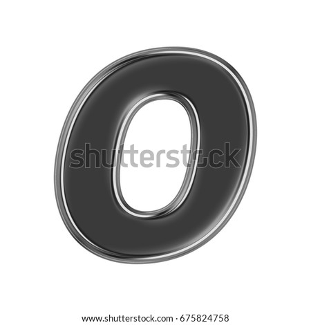 Black chrome metallic uppercase or capital letter O in a 3D illustration with a glossy or shiny silver metal edge and basic bold text font style isolated on a white background