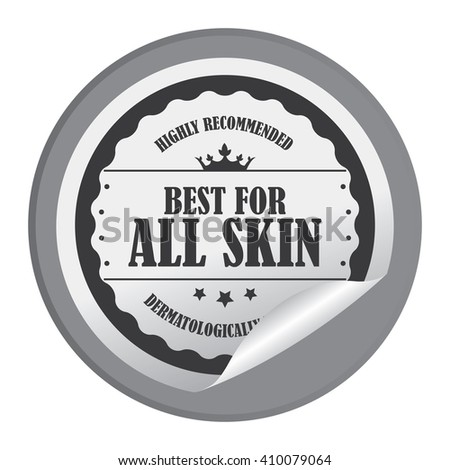 Black Circle Best For All Skin Highly Recommended Dermatologically Tested - Product Label, Campaign Promotion Infographics Flat Icon, Peeling Sticker, Sign Isolated on White Background  - stock photo