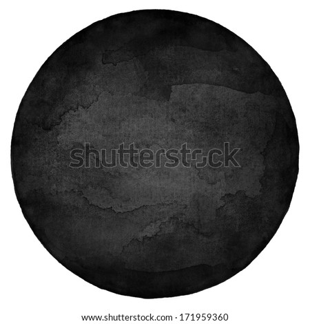 Black circle blank watercolor on white background. Image round shape form isolated of square format. Colored aquarelle template  backdrop created in handmade technique. - stock photo