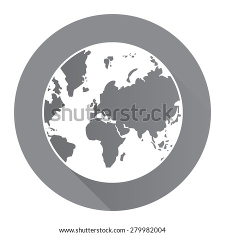 Black Circle Earth Planet Flat Long Shadow Style Icon, Label, Sticker, Sign or Banner Isolated on White Background - stock photo