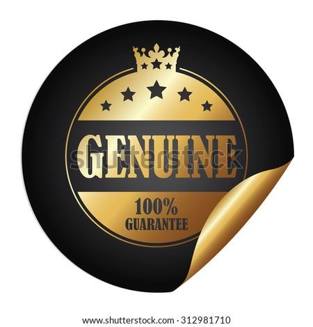 Black Circle Genuine 100% Guarantee Infographics Peeling Sticker, Label, Icon, Sign or Badge Isolated on White Background - stock photo