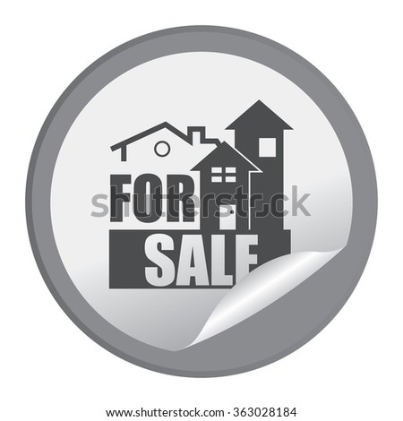 Black Circle Home or Office For Sale Product Label, Infographics Flat Icon, Peeling Sticker, Sign Isolated on White Background  - stock photo